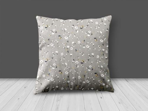 Grey & White Floral Print Cushion from Handmade Gift Company