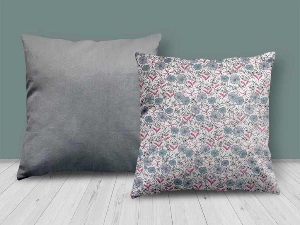 Floral Blue/Pink/Grey Design Cushion-CUS24