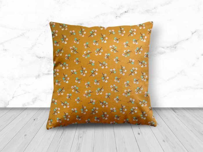 Gold Floral Design Cushion from Handmade Gift Company