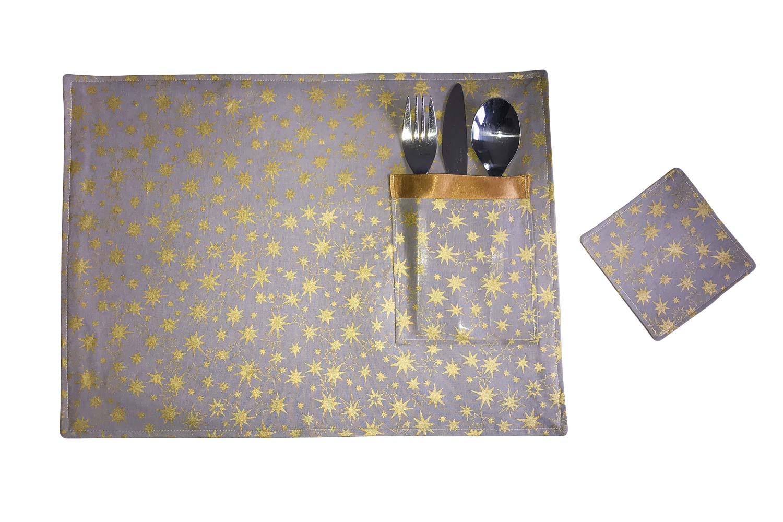 Handmade Christmas Placemats-Gold Stars
