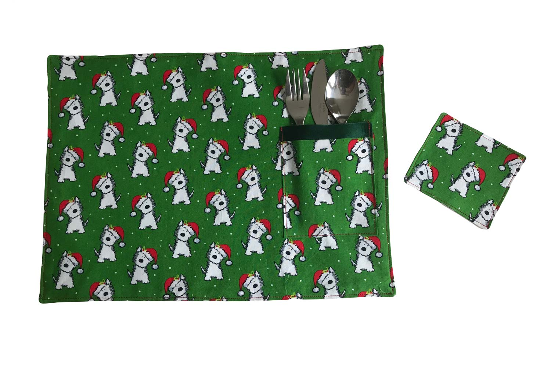 Handmade Christmas Placemats-Santa Terrier