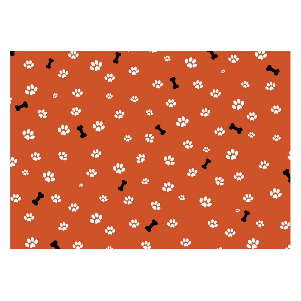 Handmade Gift Company Dog Paws & Bone Print Gift Wrap-Deep Orange