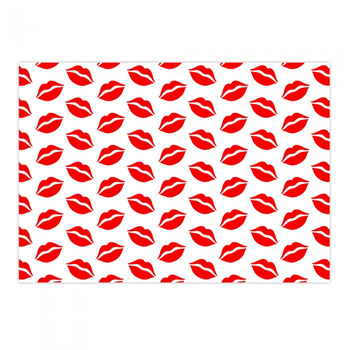 Handmade Gift Company Red/White Lips Gift Wrapping Paper