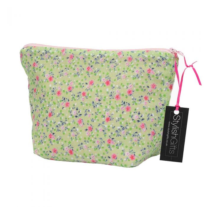Pink & Green Floral Cosmetic Bag from 'Handmade Gift Company'