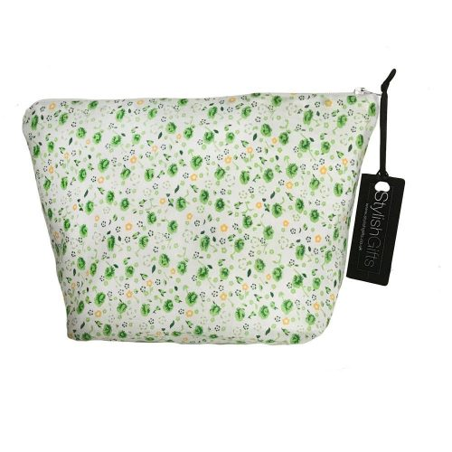 Green Floral/Dots Cosmetic Bag