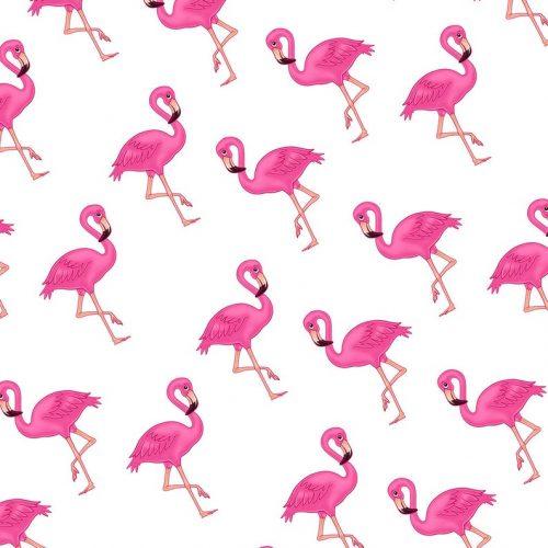 Pink Flamingo Gift Wrap-White Background-Handmade Gift Company