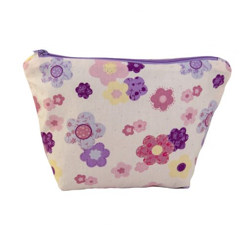 Puple Floral Cotton Cosmetic Bag