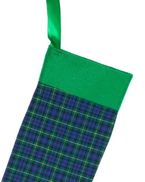 Handmade Christmas Stocking-Blue Tartan