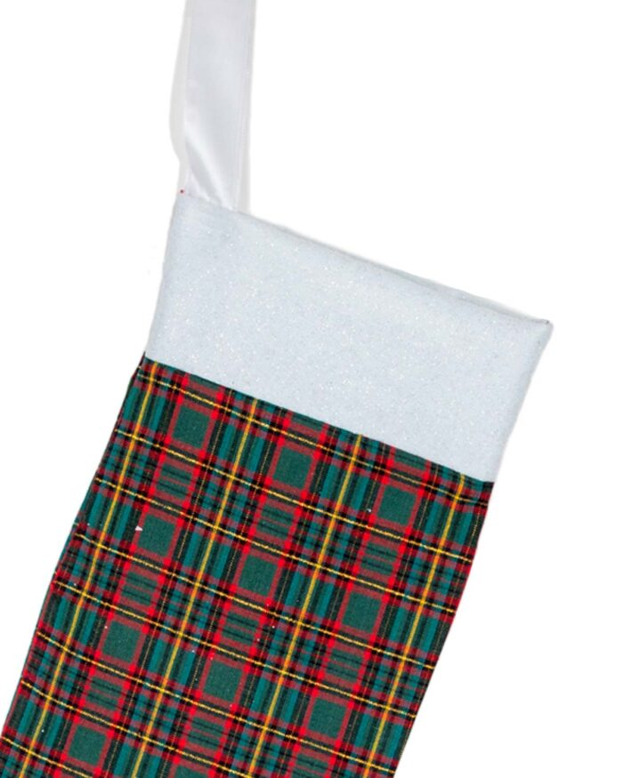 Handmade Christmas Stocking-Green Tartan