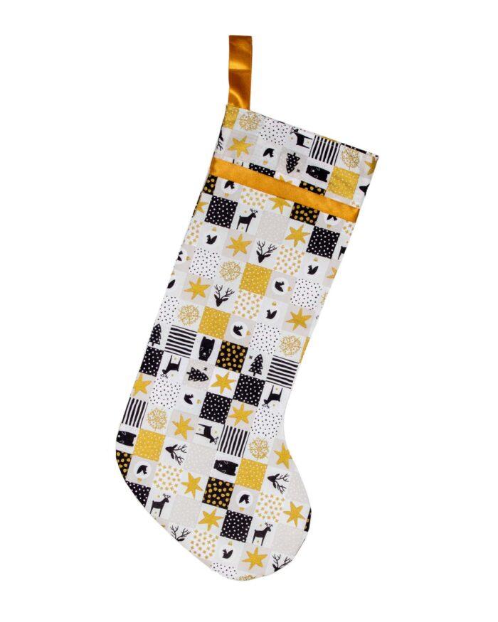 Handmade Christmas Stocking-Gold/Black