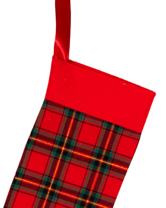 Handmade Christmas Stocking-Red Tartan