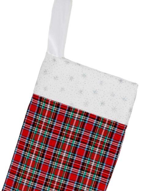 Handmade Christmas Stocking-Tartan Red