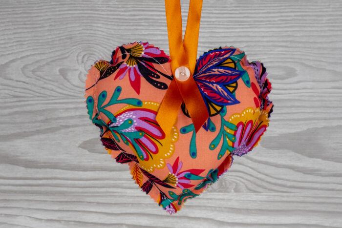 Floral Hanging Heart Decoration-Orange-CHH16