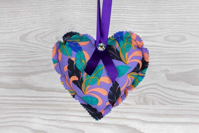 Floral Multi Purple Hanging Heart Decoration