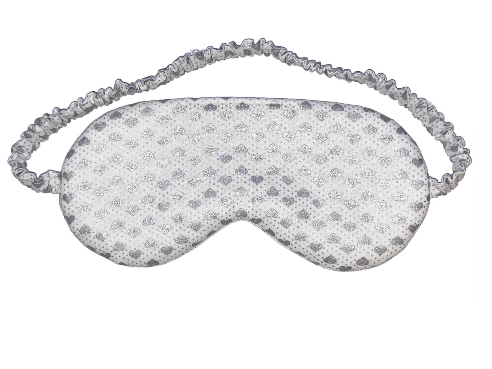 Sleep/Eye Mask Silver Metallic Hearts