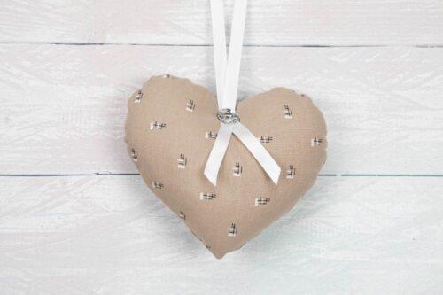 Floral Hanging Heart Decoration-Beige