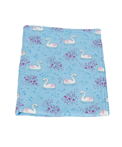 Swans Baby Blanket-Blue