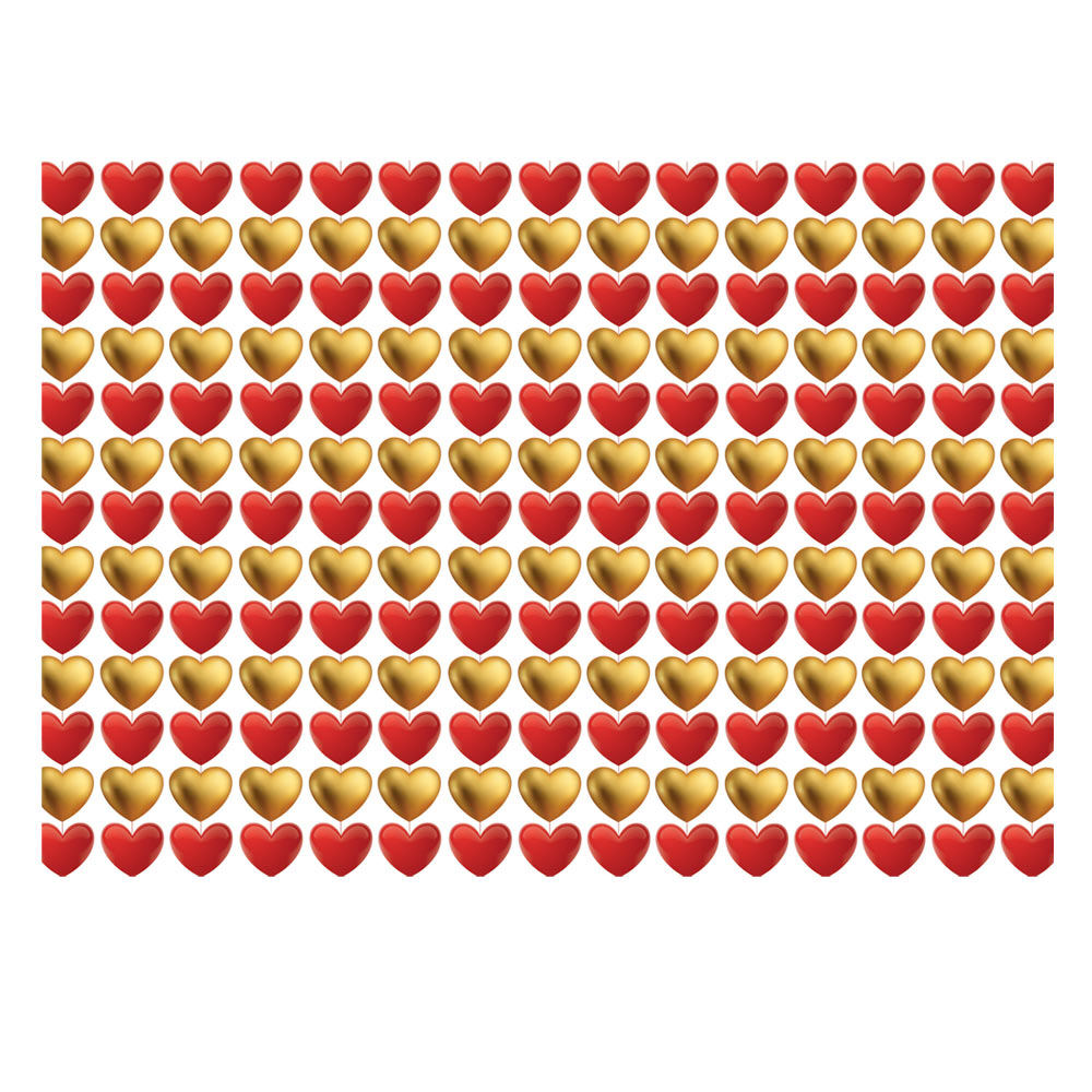 Hearts Gift Wrap Red-Gold
