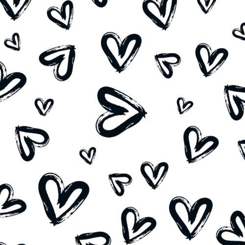 Heart Design Cushion Black-White