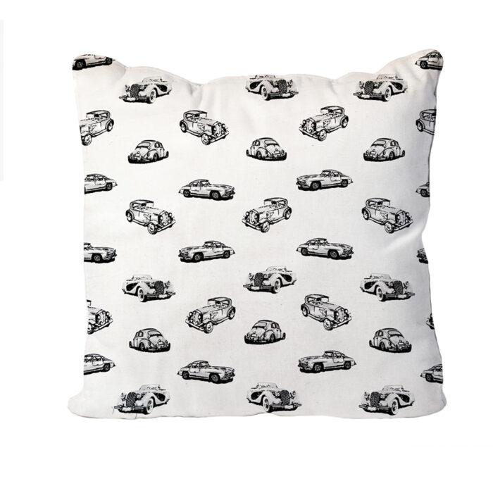 Vintage Car Cushion-White