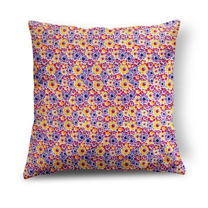 Yellow & Purple Floral Cushion