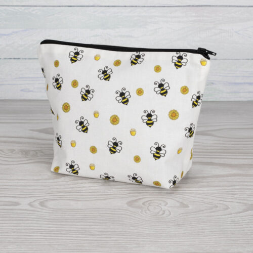 Bees Cosmetic Bag White