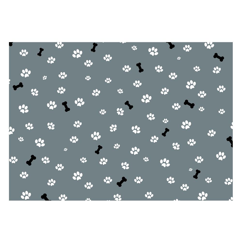 Dog Paws & Bone Print Gift Wrap-Grey