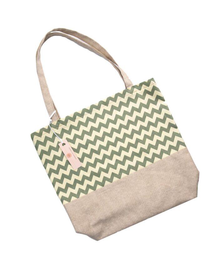 Tote Bag-Green Zig Zag
