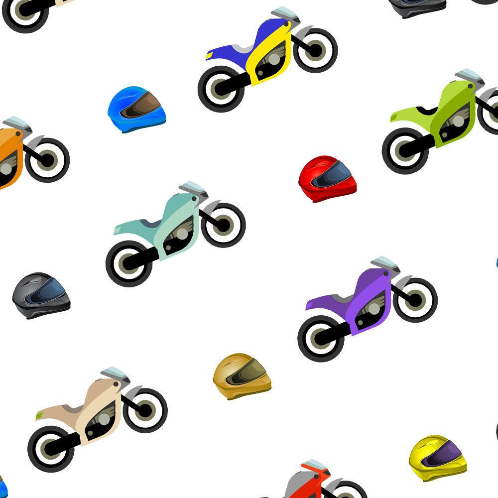 Motorbike Gift Wrap-White Background.