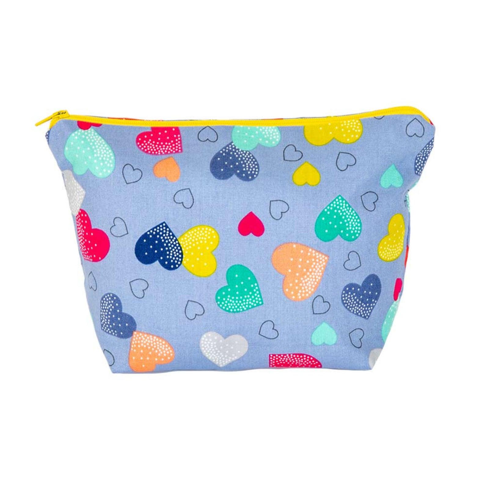 Multicoloured Hearts Cosmetic Bag
