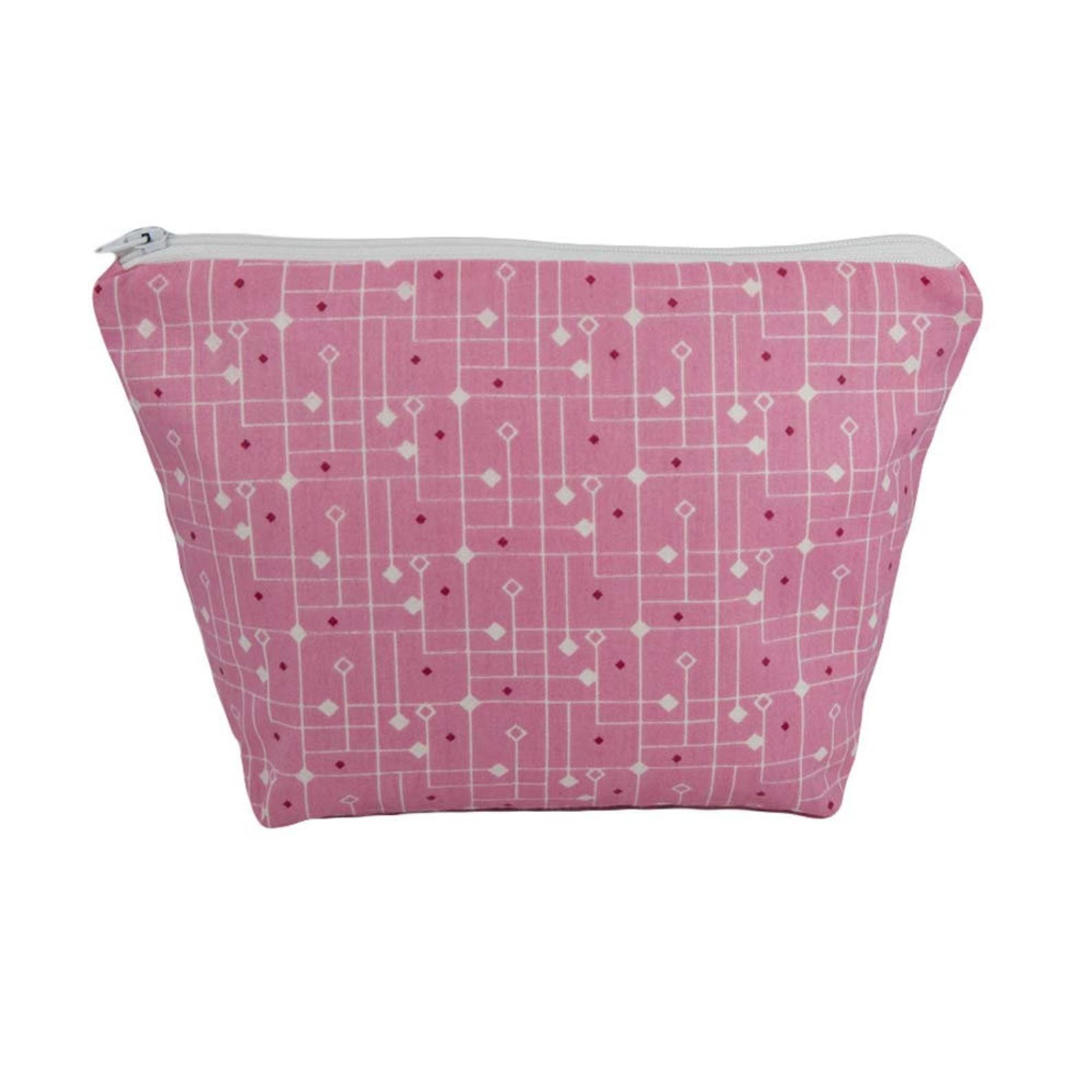 Pink Geometric Cosmetic Bag
