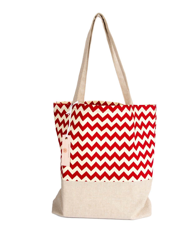 Tote Bag-Red Zig Zag