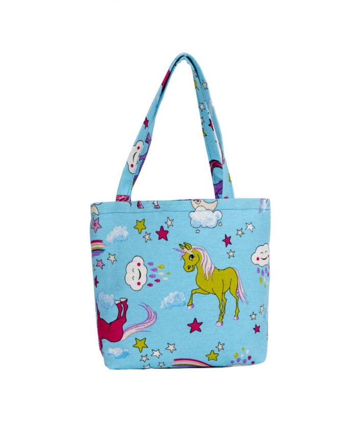 Unicorn Blue Tote Bag-Childrens
