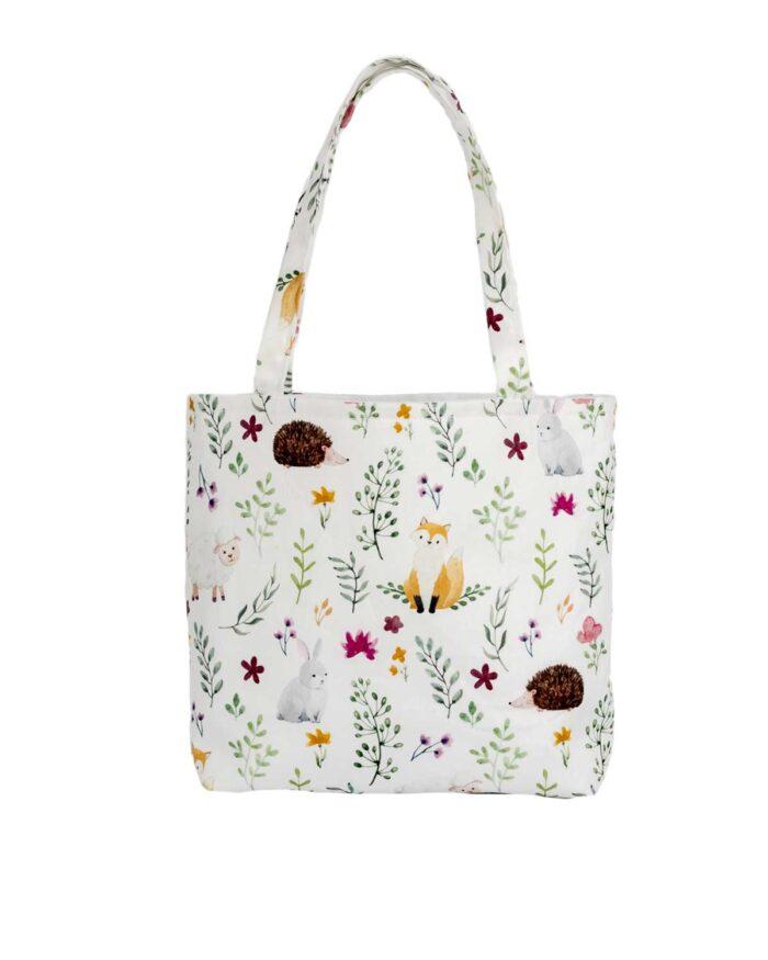 Animal Design White Tote Bag-Children