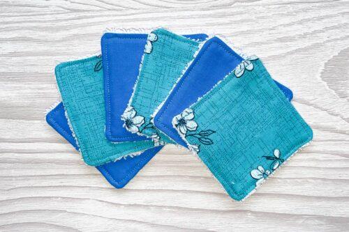 Eco-friendly Face Pads-Blue Floral/Plain