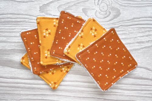 Eco-friendly Face Pads-Orange Geometric