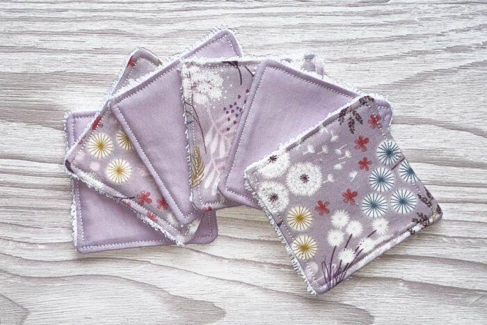 Eco-friendly Face Pads-Lilac Floral/Plain