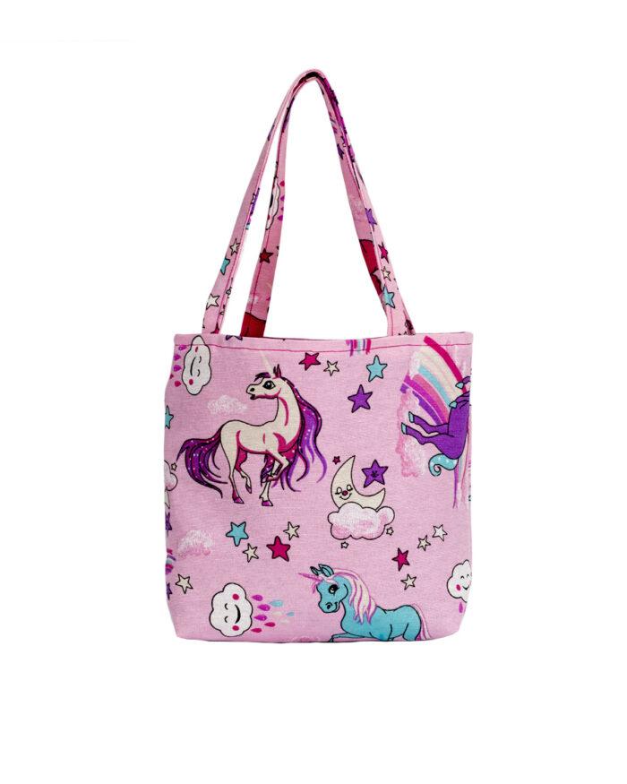 Unicorn Design Pink Tote Bag-Childrens
