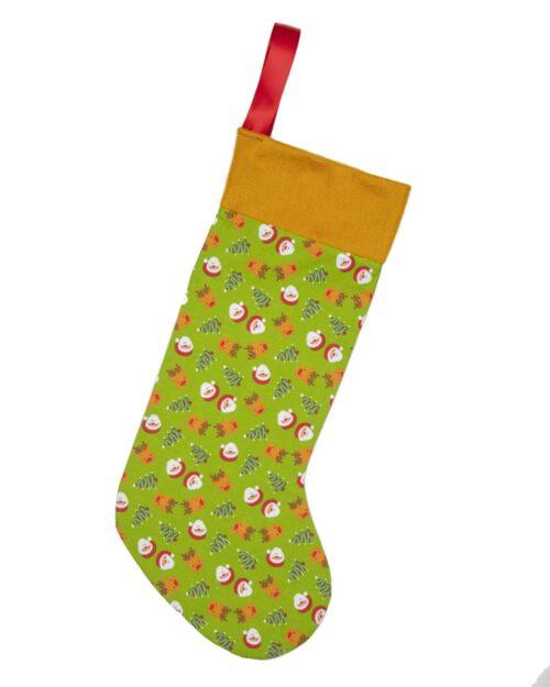 Santa & Reindeers Christmas Stocking. Green_Gold-CST012